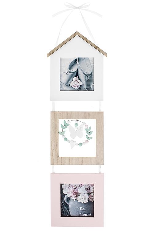 Рамка для 2-х фото Милый домДеревянные фоторамки<br>16*52см, фото 10*10см, МДФ, стекло, бело-кремово-розовая<br>