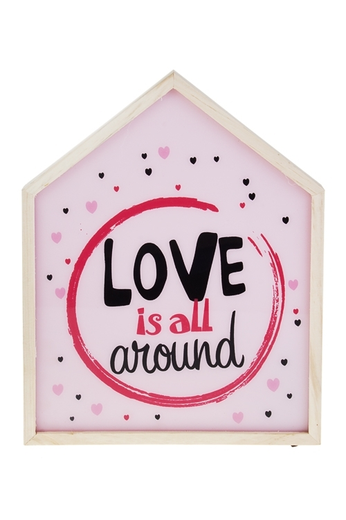 Украшение для интерьера настенное с подсветкой Любовь повсюдуПодарки ко дню рождения<br>32*25см, дерево, стекло, пластм.<br>