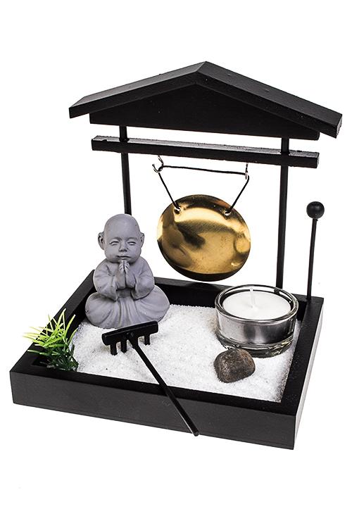 Украшение для интерьера Японский сад - ГонгФигурки<br>15*12*16см (МДФ, полирезин, аксесс.), черное<br>