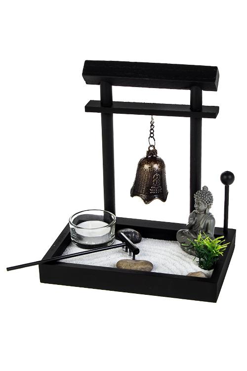 Украшение для интерьера Японский сад - КолоколИнтерьер<br>17*12*19см (МДФ, полирезин, аксесс.), черное<br>