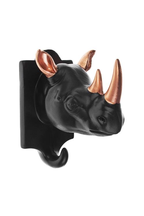 Вешалка декоративная НосорогИнтерьер<br>13*8.5*11см, полирезин, черно-золот.<br>