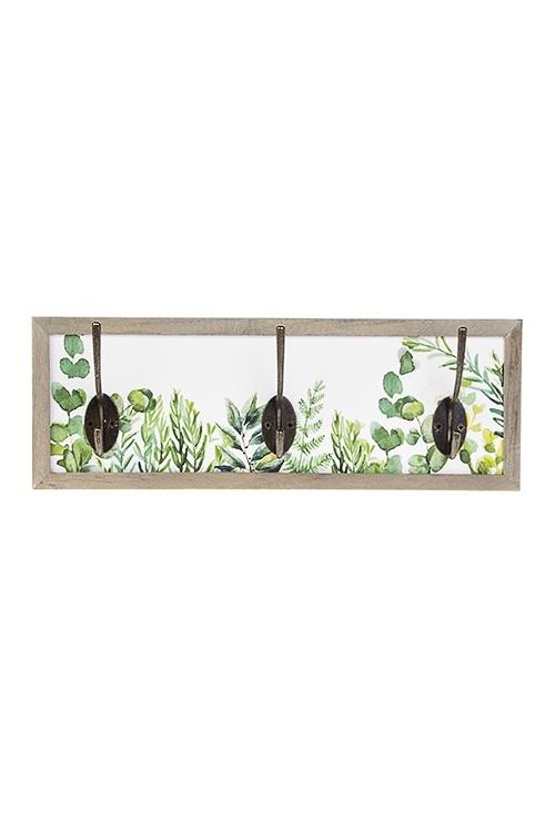 Вешалка декоративная Нежность листвыИнтерьер<br>34*12см, МДФ, дерево, металл, с 3-мя крючками<br>