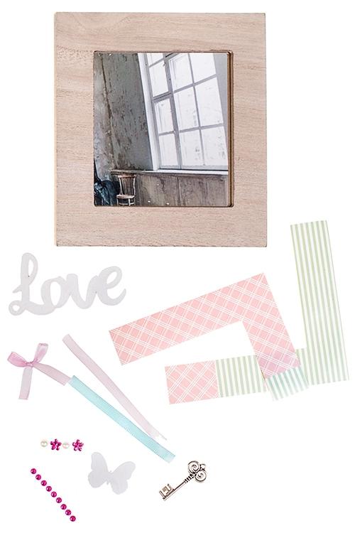 Набор для творчества Сделай самУкрашения на стену<br>(зеркало настенное 15*15см, аксессуары), МДФ, стекло<br>