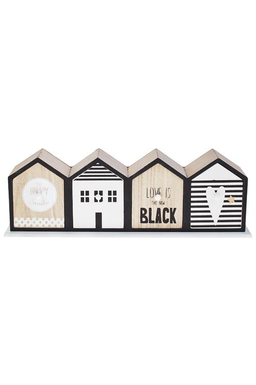 Шкатулка Стильные домаШкатулки для украшений<br>40*9*13см, МДФ, черно-бело-крем., с 4-мя выдвижными ящиками<br>