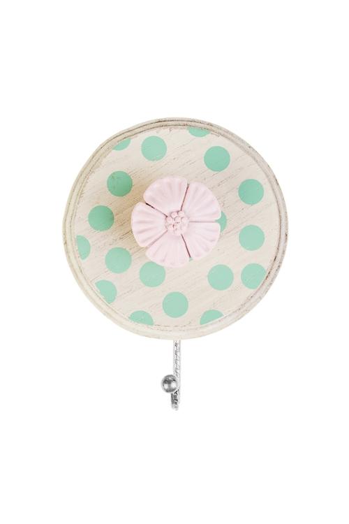 Вешалка декоративная Прованский цветокВешалки<br>12*5*15см, МДФ, металл, крем.-зелено-розовая<br>