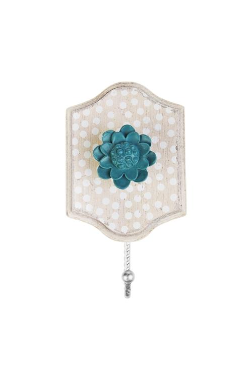 Вешалка декоративная Прованский цветокИнтерьер<br>12*5*15см, МДФ, металл, крем.-синяя<br>
