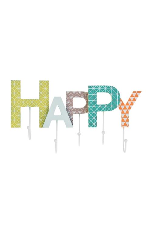Вешалка декоративная СчастливыйВешалки<br>39*14см, МДФ, металл, с 5-ю крючками<br>