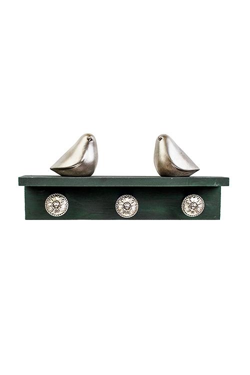 Вешалка декоративная ПтичкиИнтерьер<br>27*5*13см, МДФ, полирезин, зелено-серебр., с 3-мя крючками<br>