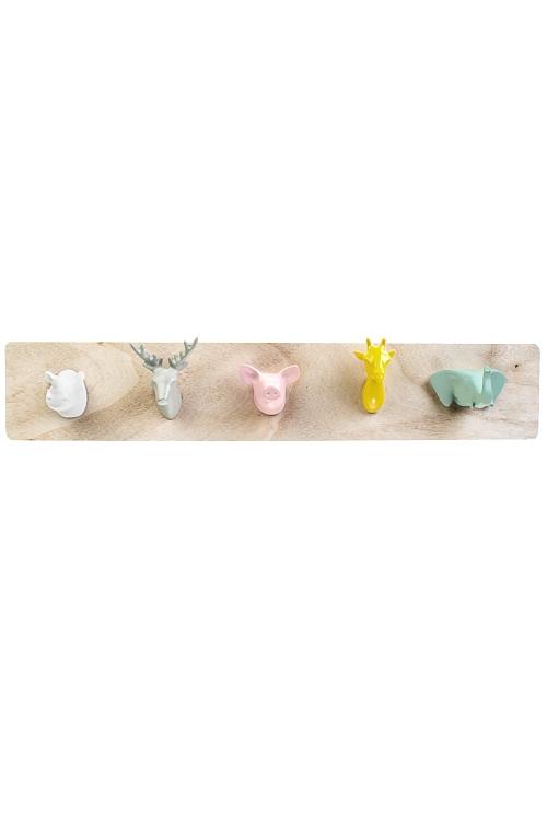 Вешалка декоративная Веселые зверушкиВешалки<br>55*10*8см, МДФ, полирезин, с 5-ю крючками<br>