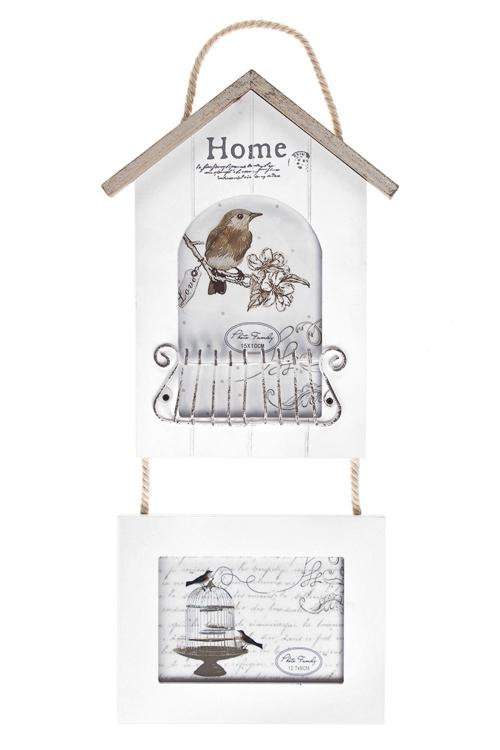 Рамка для 2-х фото Птичкин домПодарки на 8 марта<br>Выс=37см, фото 10*15см, 13*9см, МДФ, металл, стекло, бело-крем.<br>