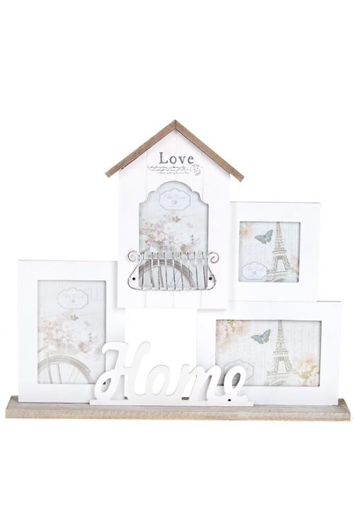 Рамка для 4-х фото Любимый домПодарки на 8 марта<br>45*39см, фото 10*15см, 9*9см, МДФ, металл, стекло, бело-крем.<br>