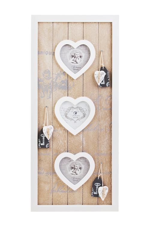 Рамка для 3-х фото Милые ангелочкиДеревянные фоторамки<br>С держателями для фото, 25*54см, фото 10*10см, МДФ<br>