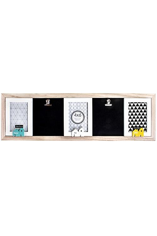 Рамка для 3-х фото ДомикиПодарки ко дню рождения<br>73*23см, фото 10*15см, с 2-мя держателями для фото, МДФ, стекло<br>