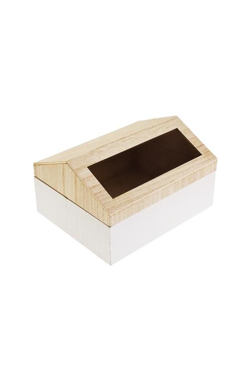 Шкатулка ДомикШкатулки и наборы по уходу<br>15*18*11см, МДФ, стекло, белая<br>