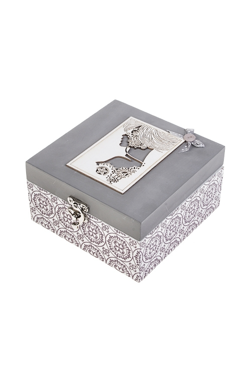 Шкатулка Прекрасная незнакомкаШкатулки и наборы по уходу<br>15*16*8.5см, МДФ, металл, серо-белая<br>