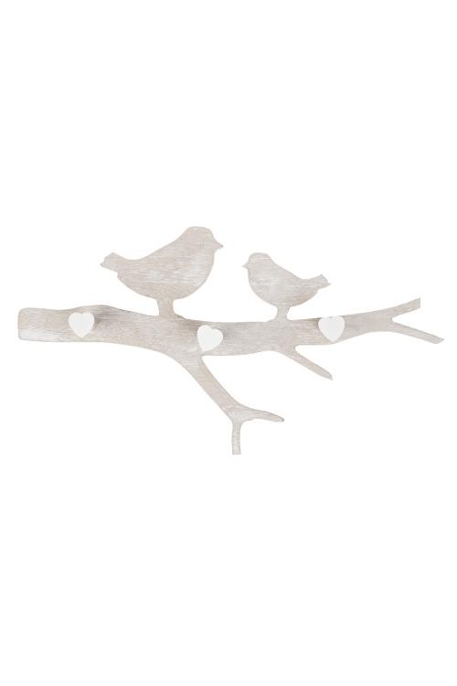 Вешалка декоративная Влюбленные птичкиИнтерьер<br>45*4.5*23см, МДФ, крем.-белая, с 3-мя крючками<br>