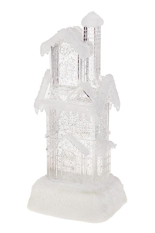 Украшение для интерьера светящееся Заснеженный домСветящиеся украшения<br>Выс=29см, акрил, на батар. с метелью<br>