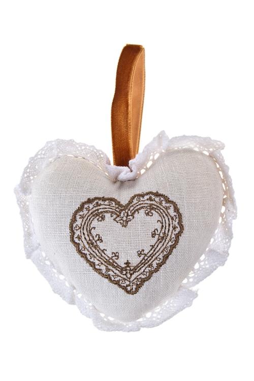 Саше КружевоШкатулки и наборы по уходу<br>В форме сердца, подвесное (лен)<br>