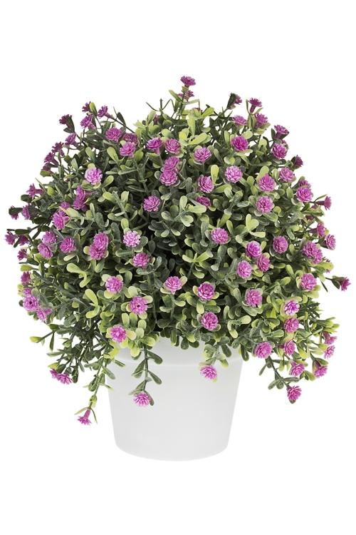 Композиция декоративная ИзобилиеДекоративные цветы<br>Выс=20см, пласт., зелено-розовая, в горшке<br>