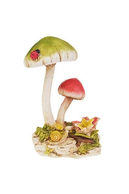 Фигурка садовая Яркие грибыСадовые фигурки<br>15*11*21см, полирезин, с фонарем на солнечных батареях<br>