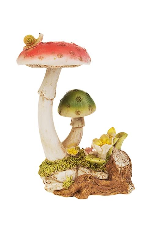 Фигурка садовая Яркие грибы-мухоморыСадовые фигурки<br>19*13*27см, полирезин, с фонарем на солнечных батареях<br>