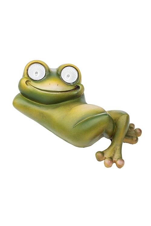 Фигурка садовая Лягушка на отдыхеСадовые фигурки<br>19*11*8см, полирезин, с фонарем на солнечных батареях<br>
