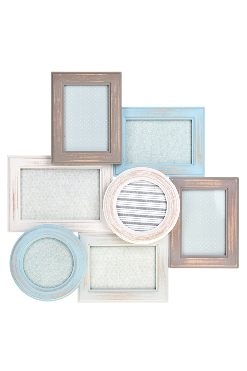 Рамка для 7-ми фото РадостиДеревянные фоторамки<br>42*41см, фото 9*13см, 10*15см, 10*10см, МДФ, бело-серо-голубая<br>