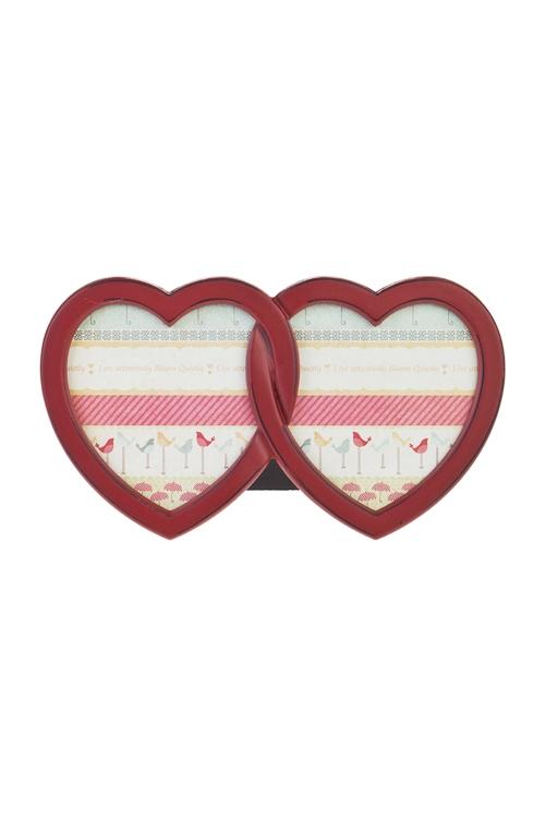 Рамка для 2-х фото Два сердцаДеревянные фоторамки<br>26*15см, фото 12*13см, МДФ, красная<br>