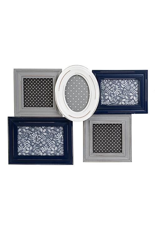 Рамка для 5-ти фото Французский стильИнтерьер<br>43*31см, фото 10*10см, 9*13см, 10*15см, МДФ, серо-синяя<br>