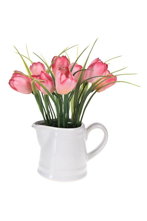 Композиция декоративная Нежные тюльпаныПодарки на 8 марта<br>Выс=18см, керам., пластм., текстиль, пенопласт<br>