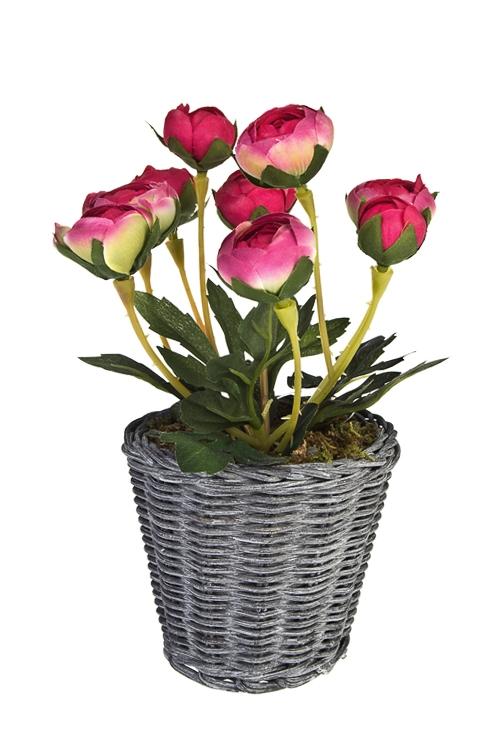 Композиция декоративная РанункулусыДекоративные цветы<br>Выс=20см, текстиль, пластм., пенопласт, натур. материалы, розовая<br>