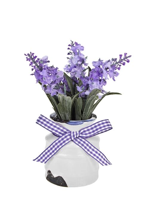 Композиция декоративная ЛавандаДекоративные цветы<br>Выс=14см, текстиль, пластм., пенопласт, керам.<br>