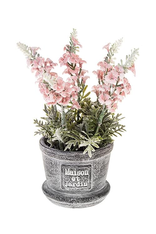 Композиция декоративная Нежная лавандаДекоративные цветы<br>Выс=19см, пластм., бумага, пенопласт, роз.-зеленая<br>