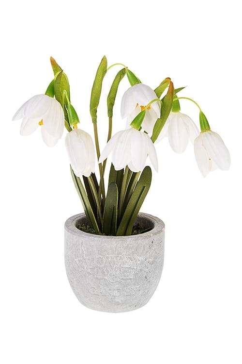 Композиция декоративная ПодснежникДекоративные цветы<br>Выс=20см, текстиль, бумага, пластм., пенопласт, бело-зеленая<br>
