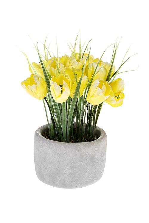 Композиция декоративная Восхитительные тюльпаныИнтерьер<br>Выс=21см, керам., текстиль, пластм., желто-зеленая<br>