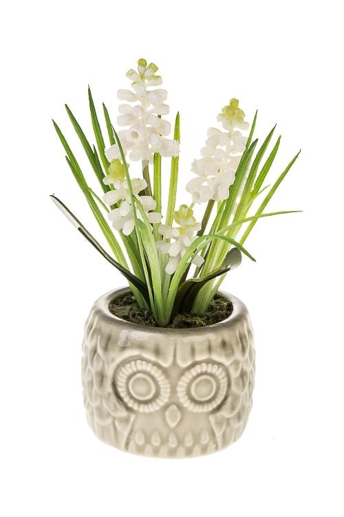 Композиция декоративная ГиацинтДекоративные цветы<br>Выс=16см, пластм., керам., пенопласт, бело-зеленая<br>