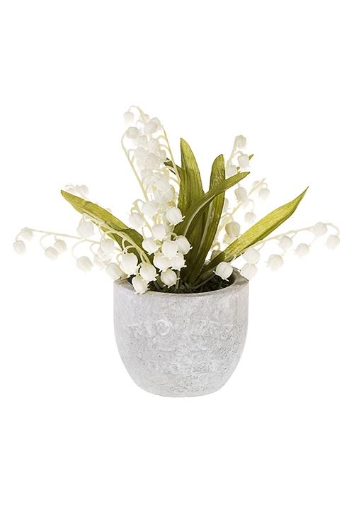 Композиция декоративная ЛандышДекоративные цветы<br>Выс=20см, керам., текстиль, пластм., пенопласт, бело-зеленая<br>
