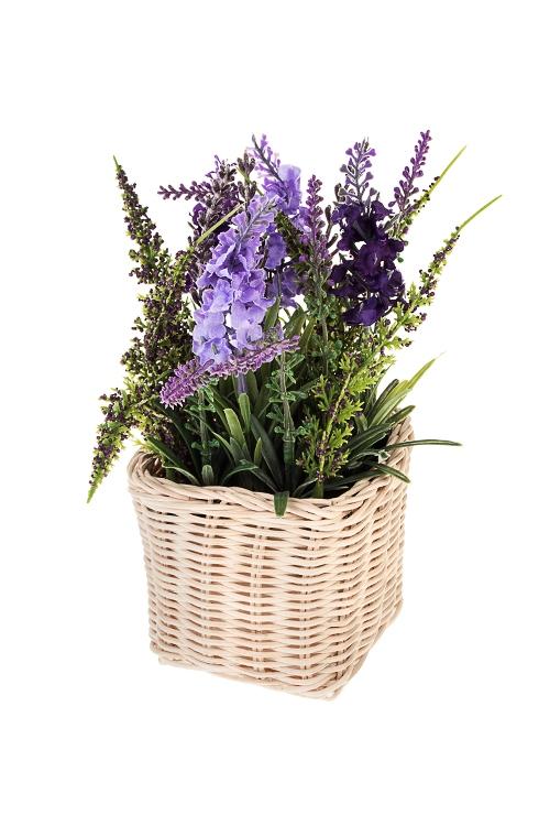 Композиция декоративная Лаванда в корзинеДекоративные цветы<br>Выс=21см, пластм., пенопласт, сирен.-зеленая<br>