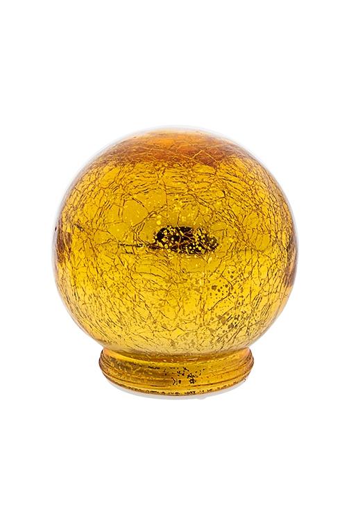 Украшение для интерьера светящееся Золотой шарИнтерьер<br>12*12см, стекло, золот., на батар.<br>