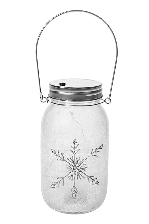 Украшение для интерьера светящееся СнежинкаИнтерьер<br>17*10см, стекло, металл, бело-серебр., на батар.<br>
