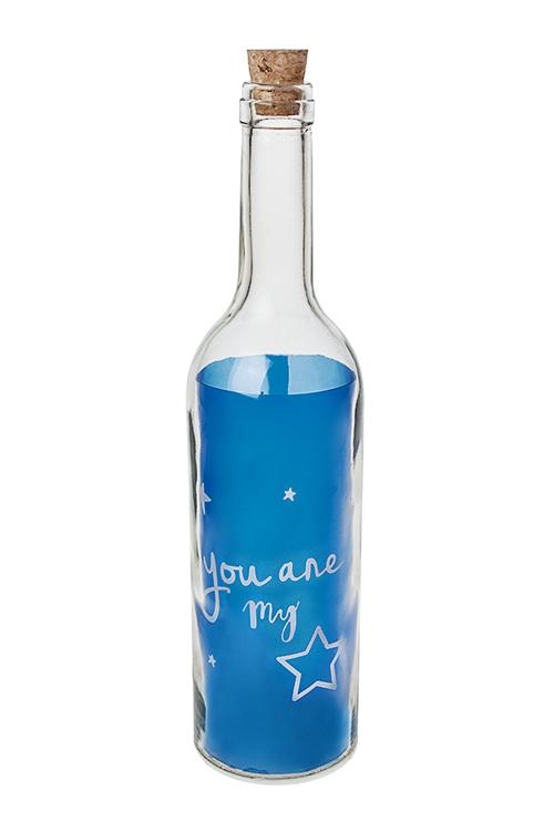 Украшение для интерьера светящееся Бутылка - Моя звездаИнтерьер<br>28*7см, стекло, пластм., синее<br>