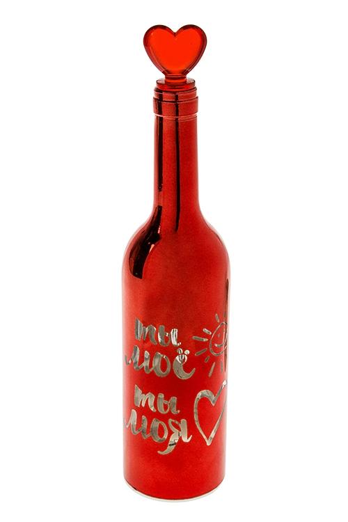 Украшение для интерьера светящееся Бутылка - Моя любовьИнтерьер<br>32*7см, стекло, пластм., красное<br>