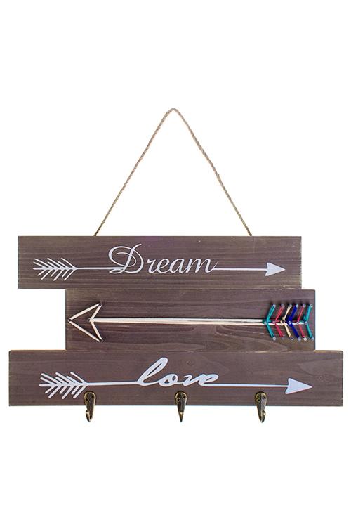 Вешалка декоративная Люби, мечтайВешалки<br>40*20см, МДФ, металл, с 3-мя крючками<br>