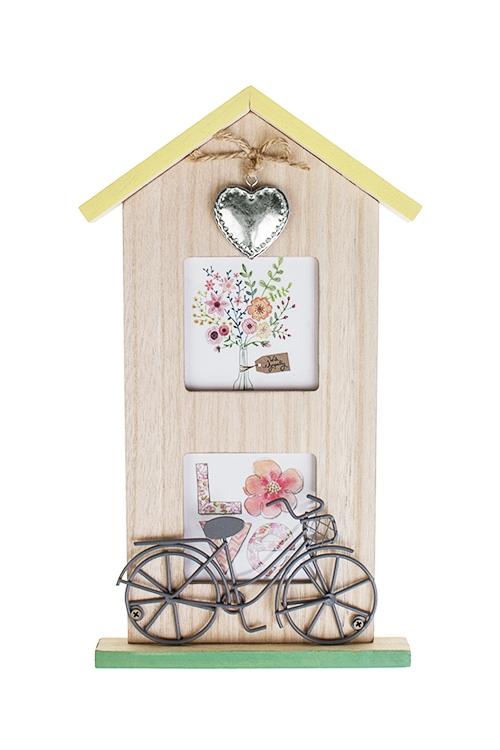 Рамка для 2-х фото Дом цветочницыПодарки ко дню рождения<br>16*28см, фото 7.5*7.5см, МДФ, стекло<br>