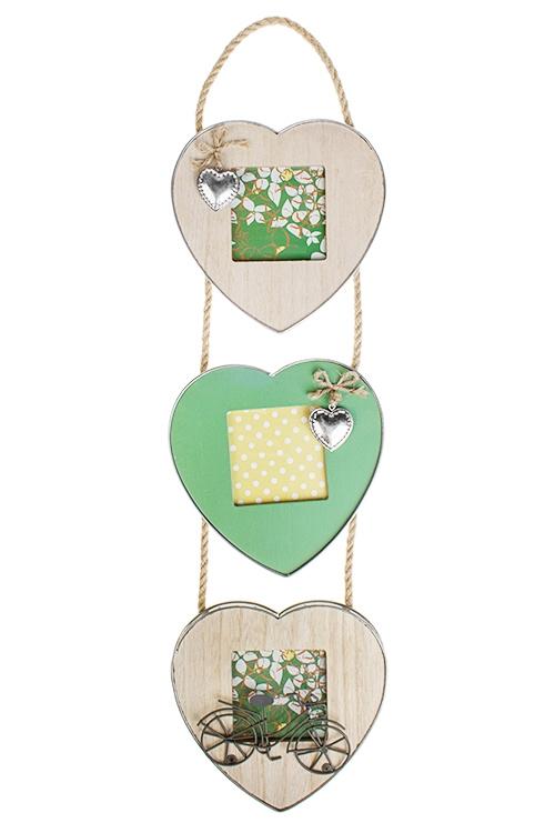 Рамка для 3-х фото Дом цветочницыПодарки ко дню рождения<br>18*69см, фото 9*9см, МДФ, стекло<br>