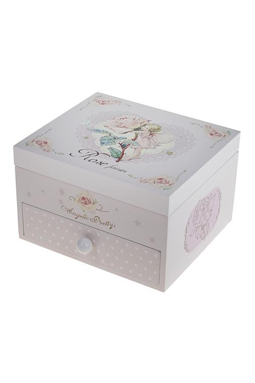 Шкатулка для ювелирных украшений Фея розыШкатулки и наборы по уходу<br>16*14*10см, МДФ, 4 отдел., розовая, с зеркалом<br>