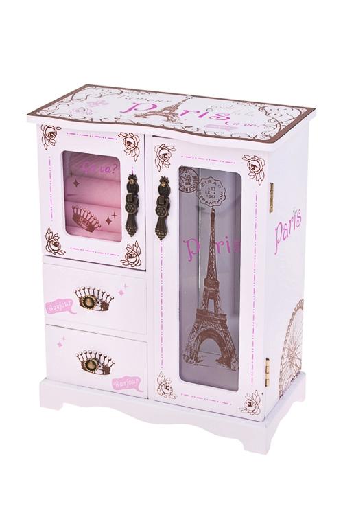 Шкатулка для ювелирных украшений ПарижШкатулки и наборы по уходу<br>20*11*25см, МДФ, 4 отдел., бело-крем.<br>
