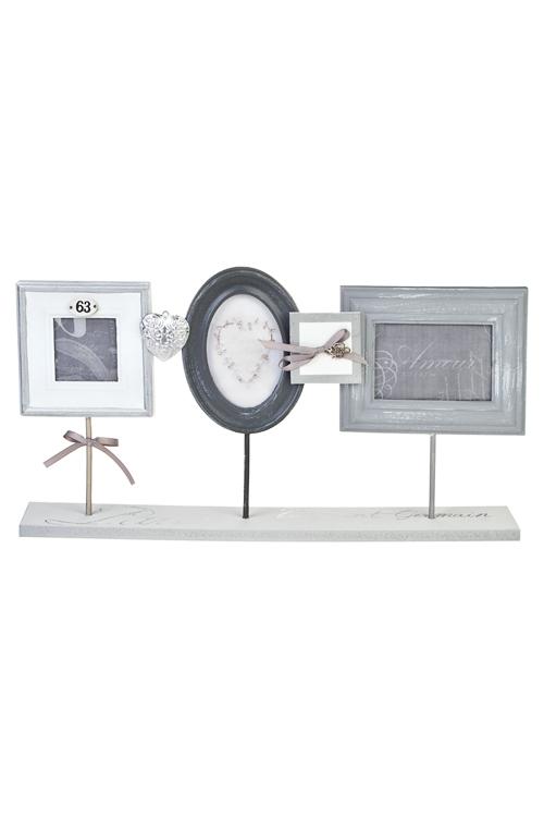 Рамка для 3-х фото Ключик с сердцуИнтерьер<br>49*25см, фото 13*8см, 8*8см, 13*8см, дерево, крем.-серая<br>