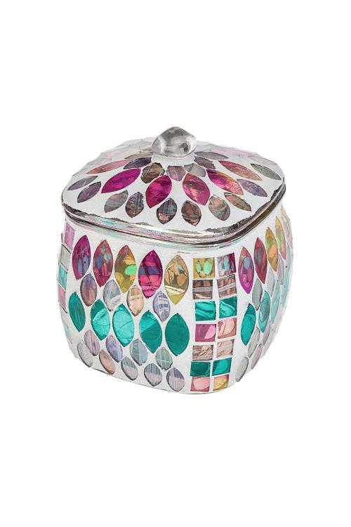 Шкатулка МозаикаШкатулки для украшений<br>11*11*12см, стекло, разноцветн.<br>