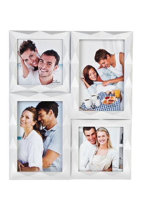 Рамка для 4-х фото Счастливые улыбкиИнтерьер<br>31*26см, фото 10*15см, 10*10см, пласт., белая<br>